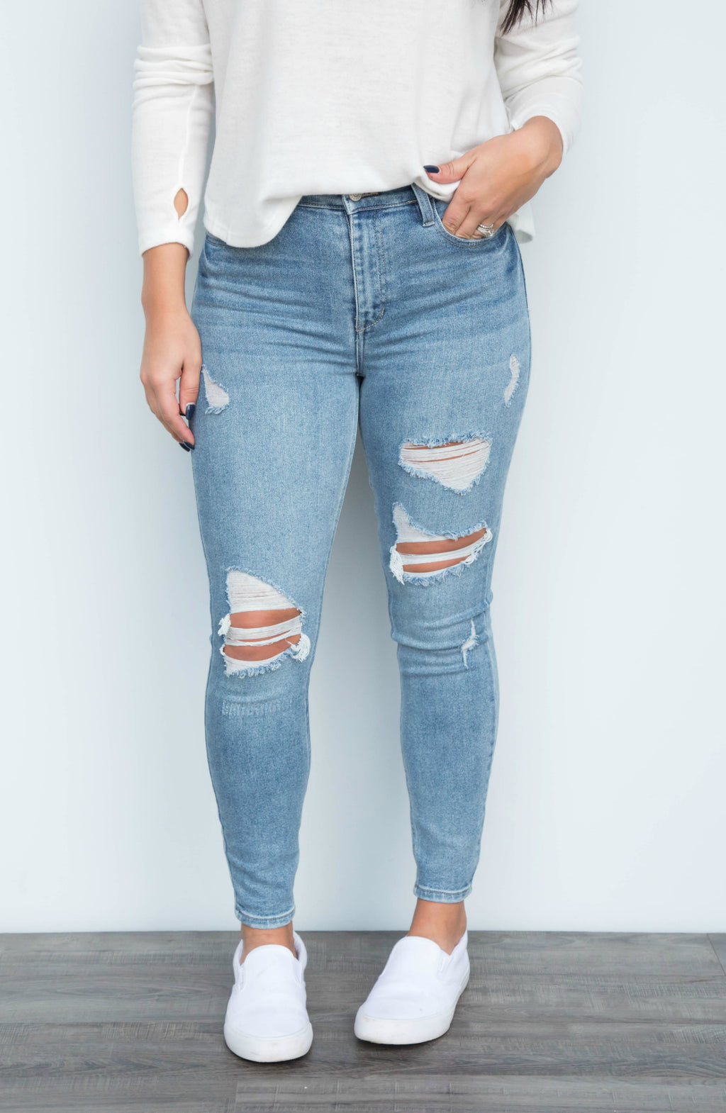 Shouldn't Have Shred It High Rise Distressed Skinny Ankle Jean