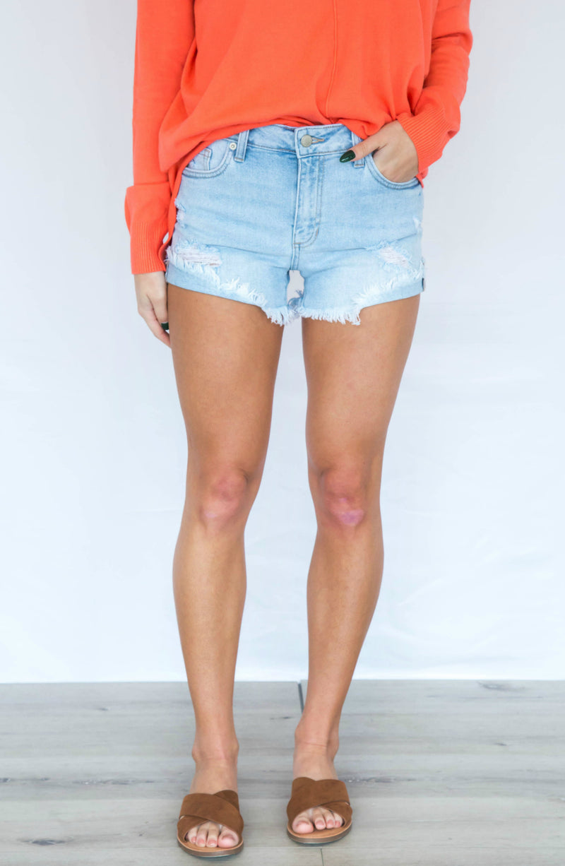 It's Been Awhile Distressed Denim Shorts - 2 Colors