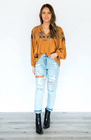 No One Like You Mustard Embroidered Top With Tie Neck Detailing