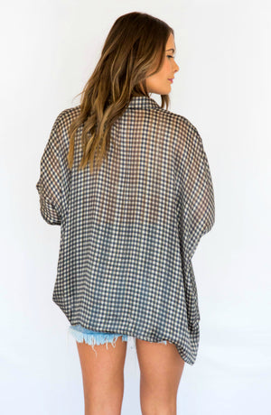 Scenic Route Sheer Plaid Button Up Top