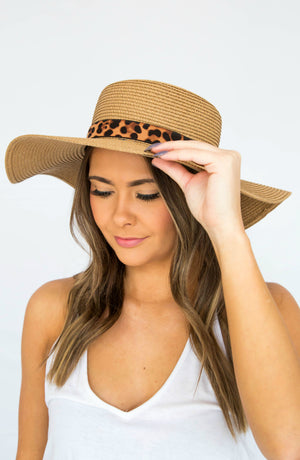 Breezy Does It Tan Leopard Floppy Hat
