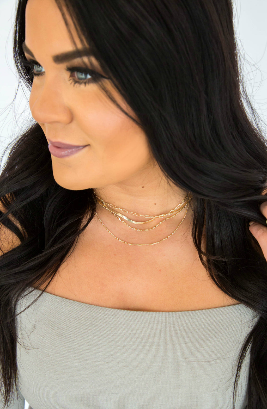 Hold You Close Gold Layered Necklace and Earring Set