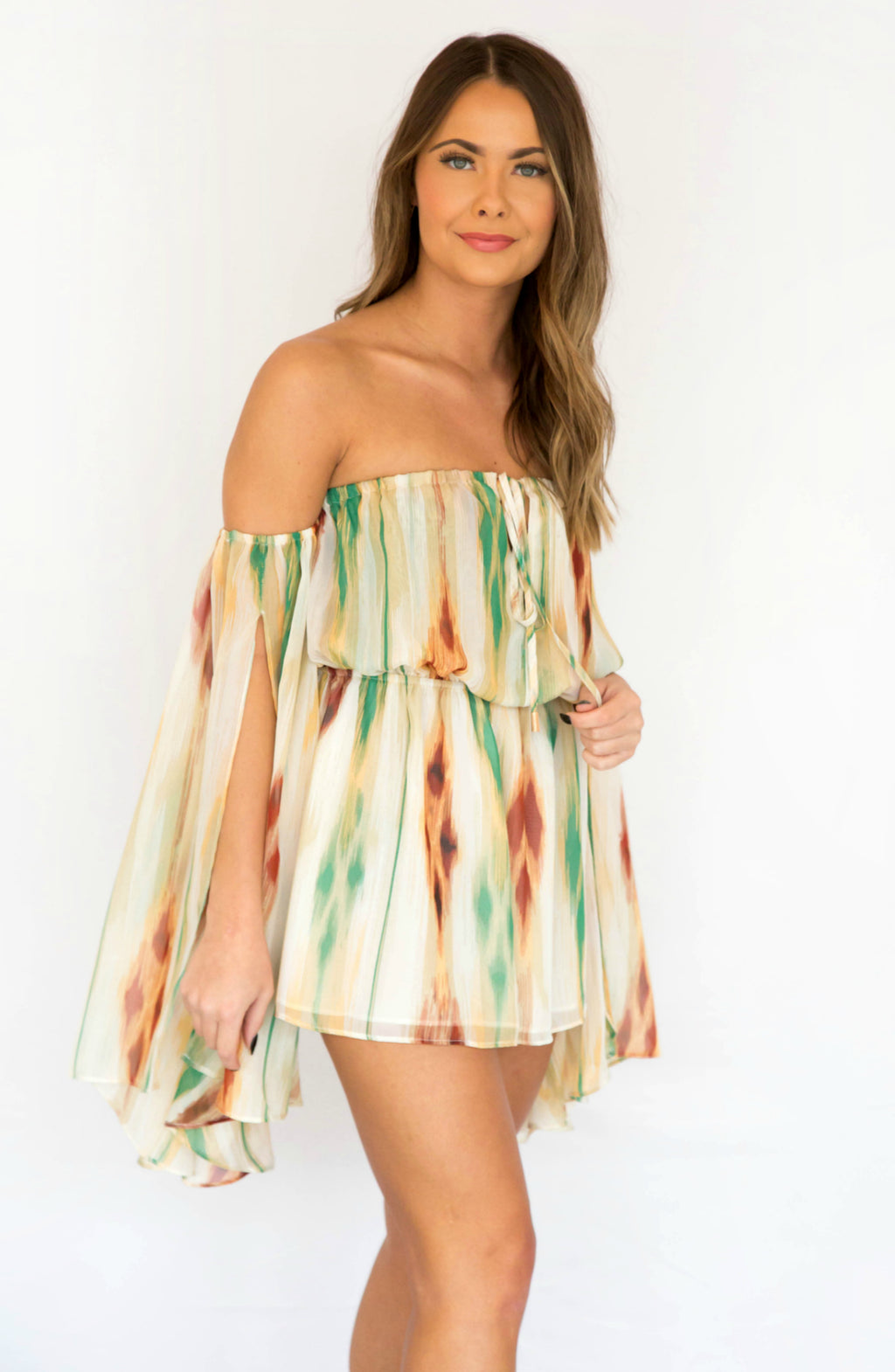 Desert Days Off Shoulder Stripe Bell Sleeve Romper