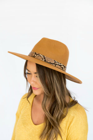 Born To Snake You Happy Snake Skin Stiff Brim Hat - 2 Colors