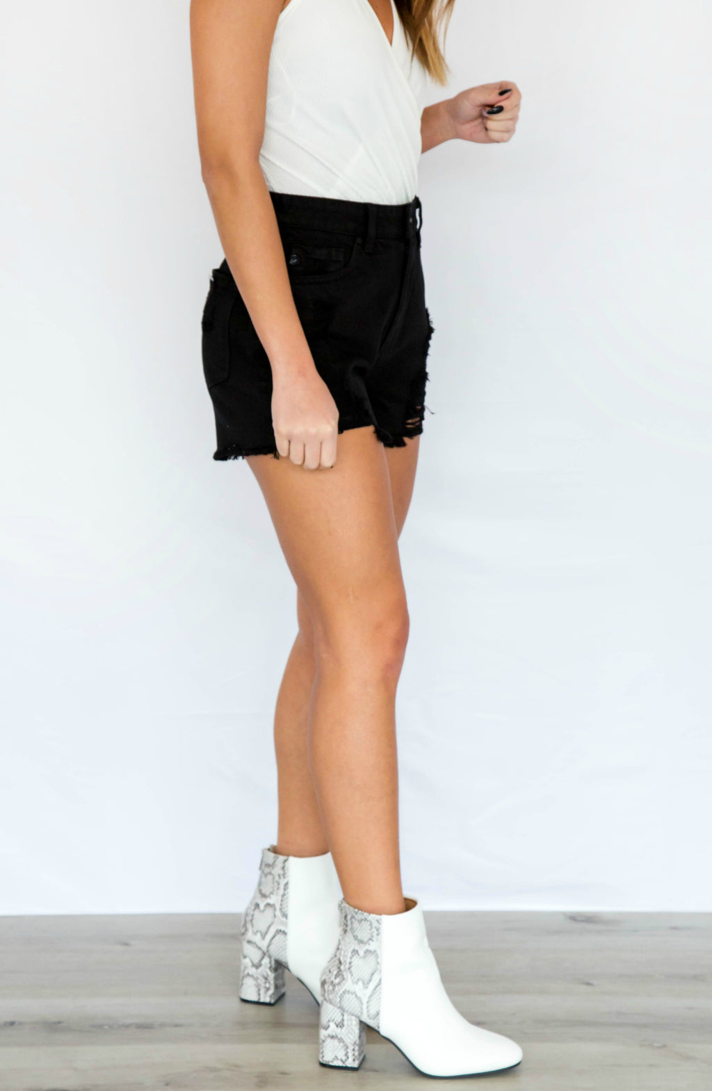 Best Distressed High Rise Denim Shorts - 2 Colors