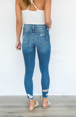 Up For It High Rise Distressed Cropped Light Wash Skinny Jeans