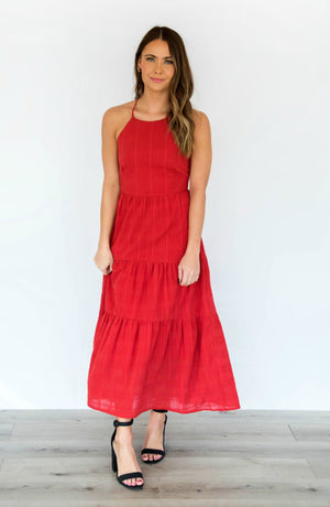When In Rome Red Halter Open Back Maxi Dress