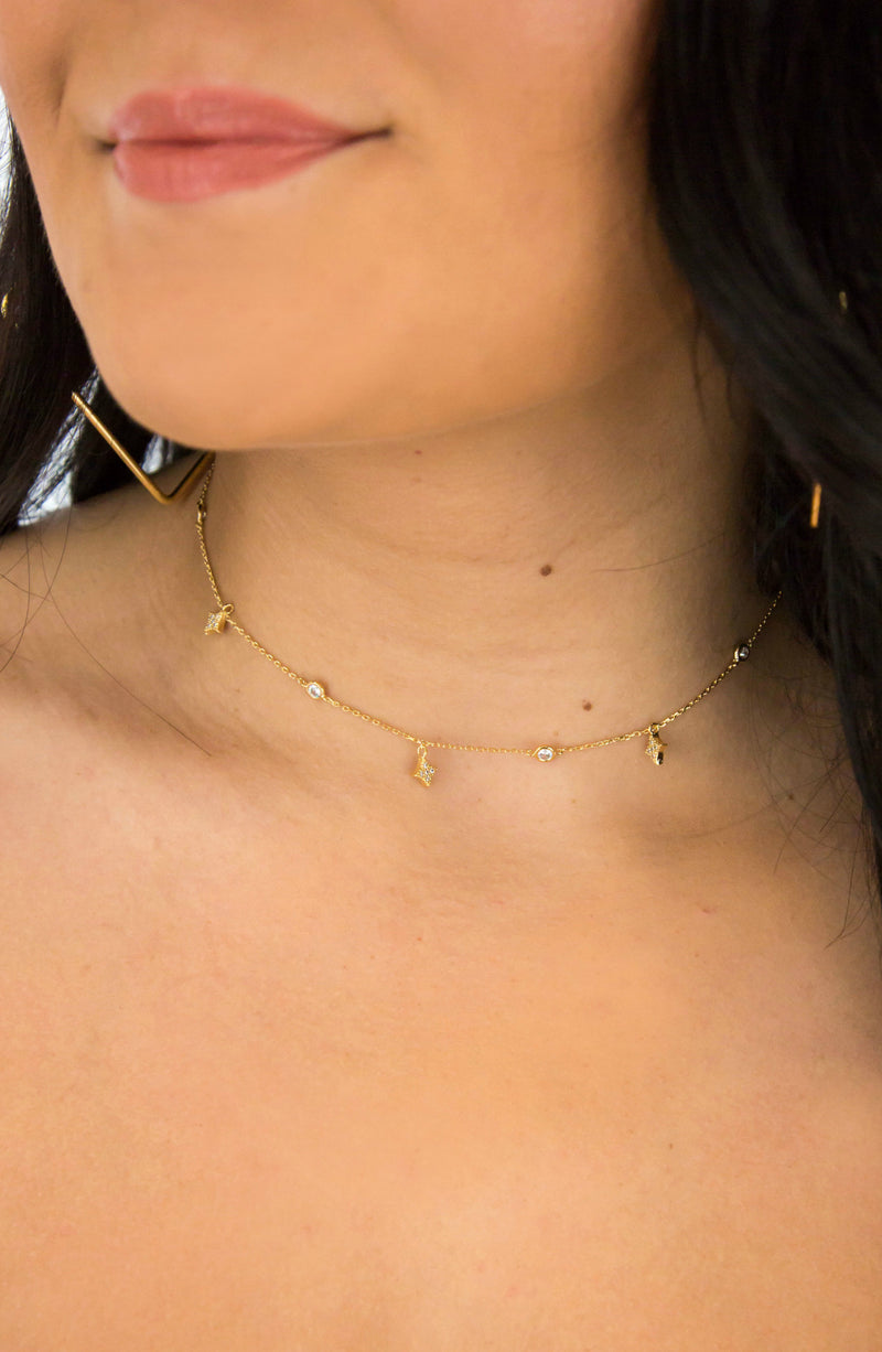 Subtle Stun Gold Rhinestone Choker Necklace