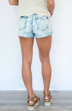 Day Trip High Rise Acid Wash Distressed Shorts