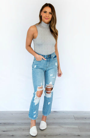 Fashion Scene Sleeveless Mock Neck Bodysuit
