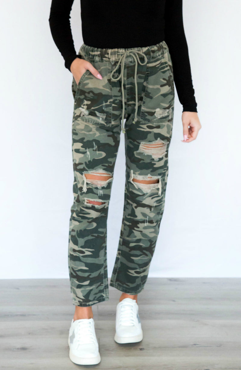PRE-ORDER: Can't Touch This Distressed Camo Pants