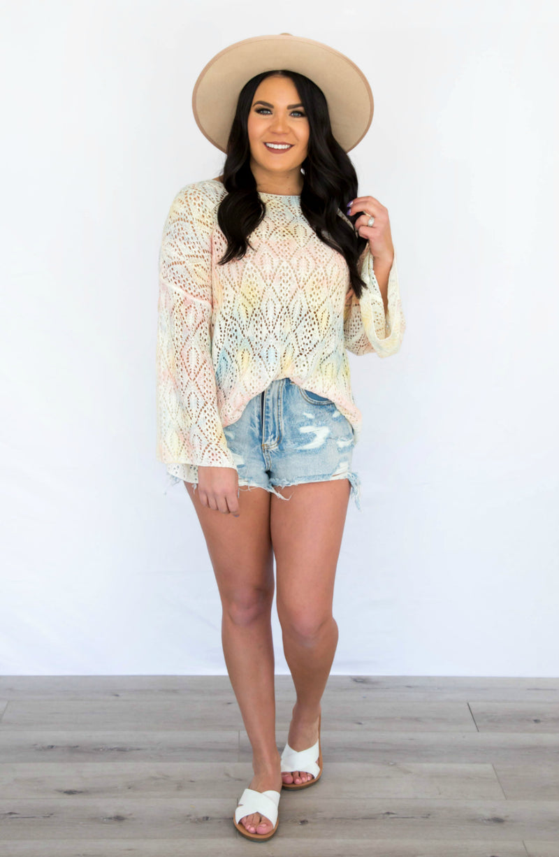 Sandy Cove Tie Dye Crochet Sweater Top
