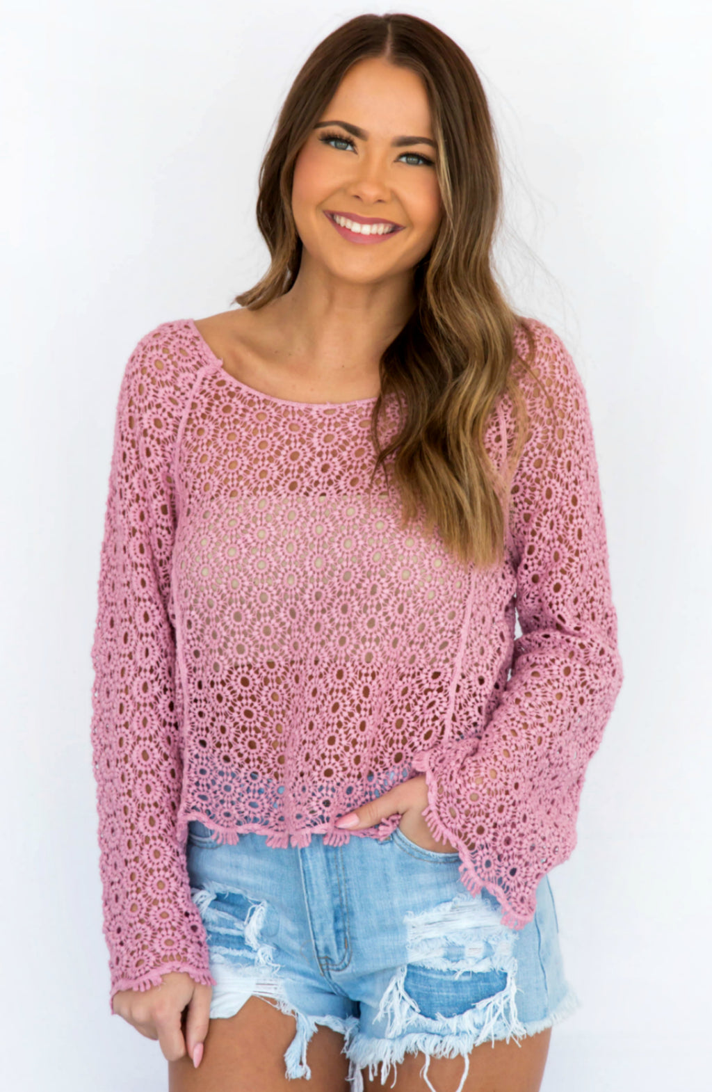 Lizzie Plum Crochet Long Sleeve Crop Top