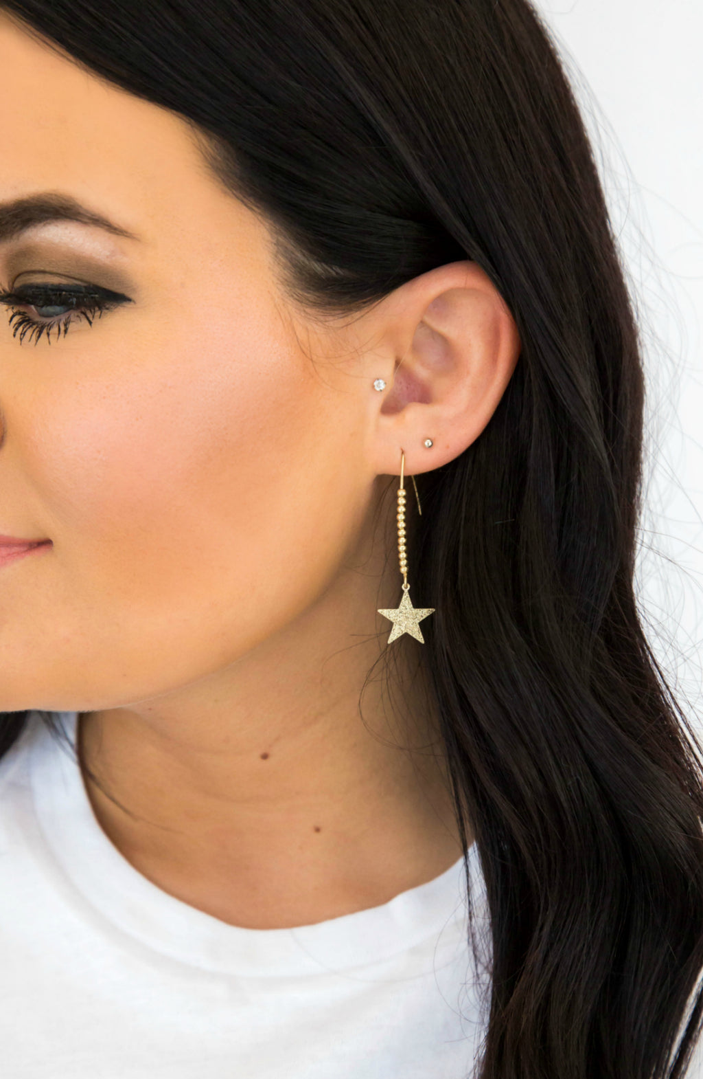 Call The Stars Gold Star Drop Earrings