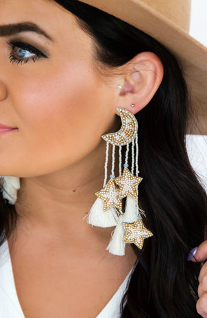 Far & Out Moon And Star Tassel Beaded Earrings