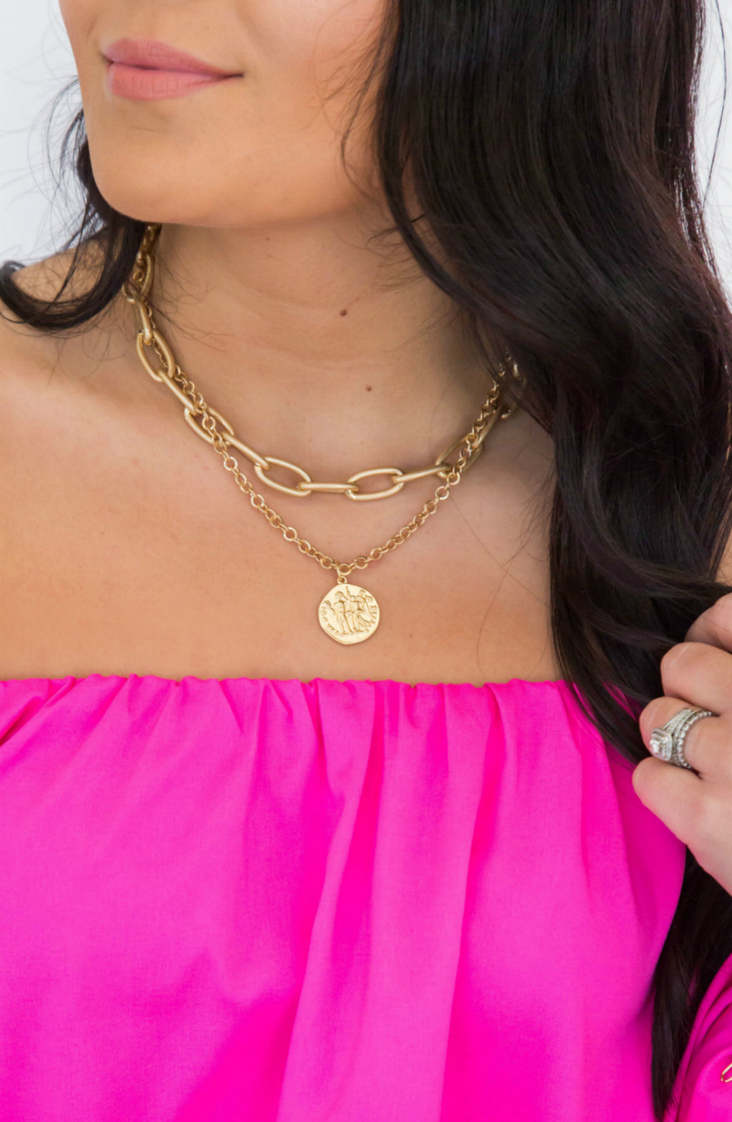 Linked By Love Gold Chain Coin Necklace