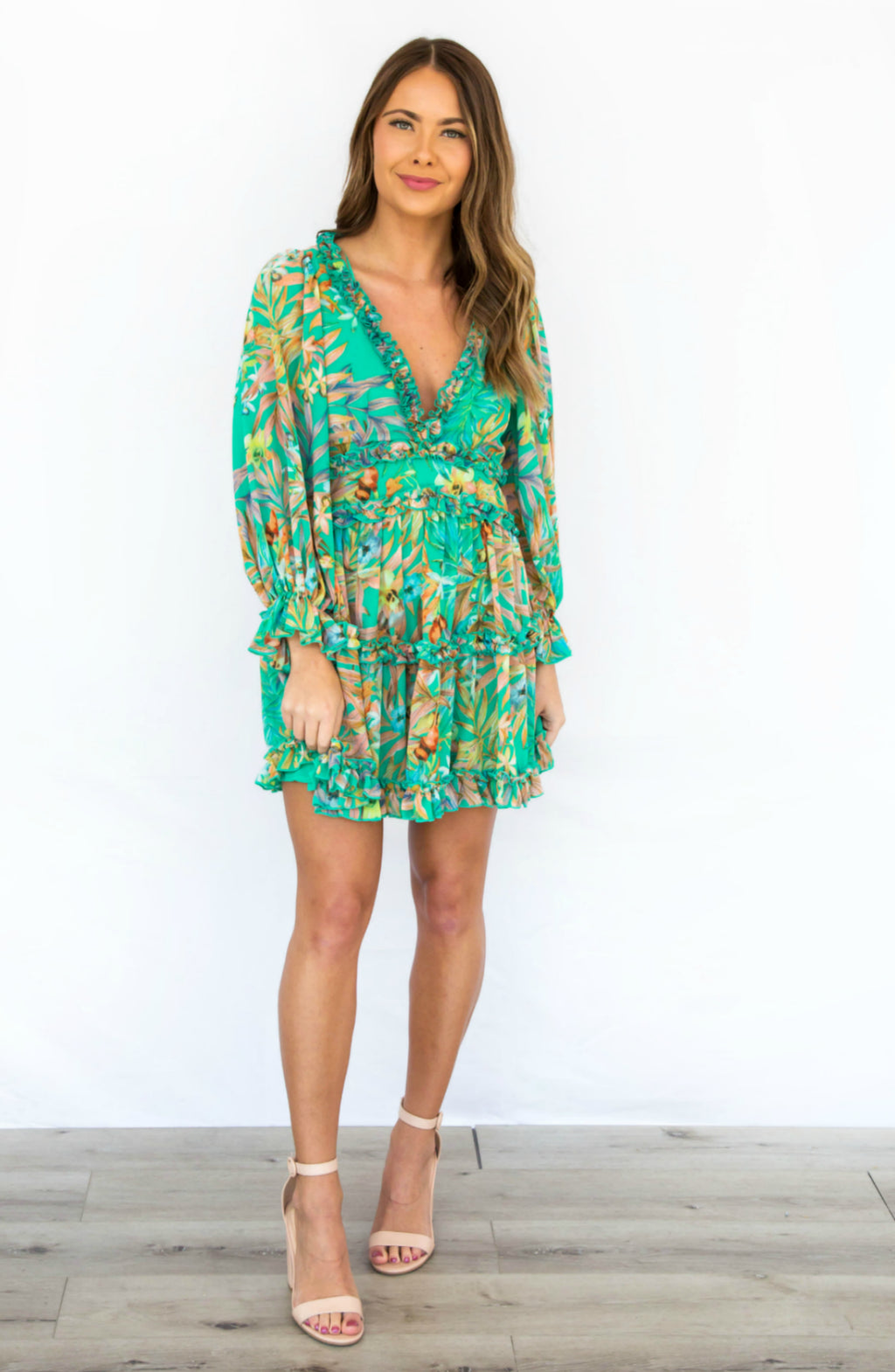 Lily Pad Green Floral V Neck Ruffled Mini Dress