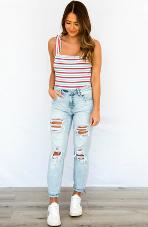 PRE-ORDER: Star Spangled Red Blue Striped Bodysuit