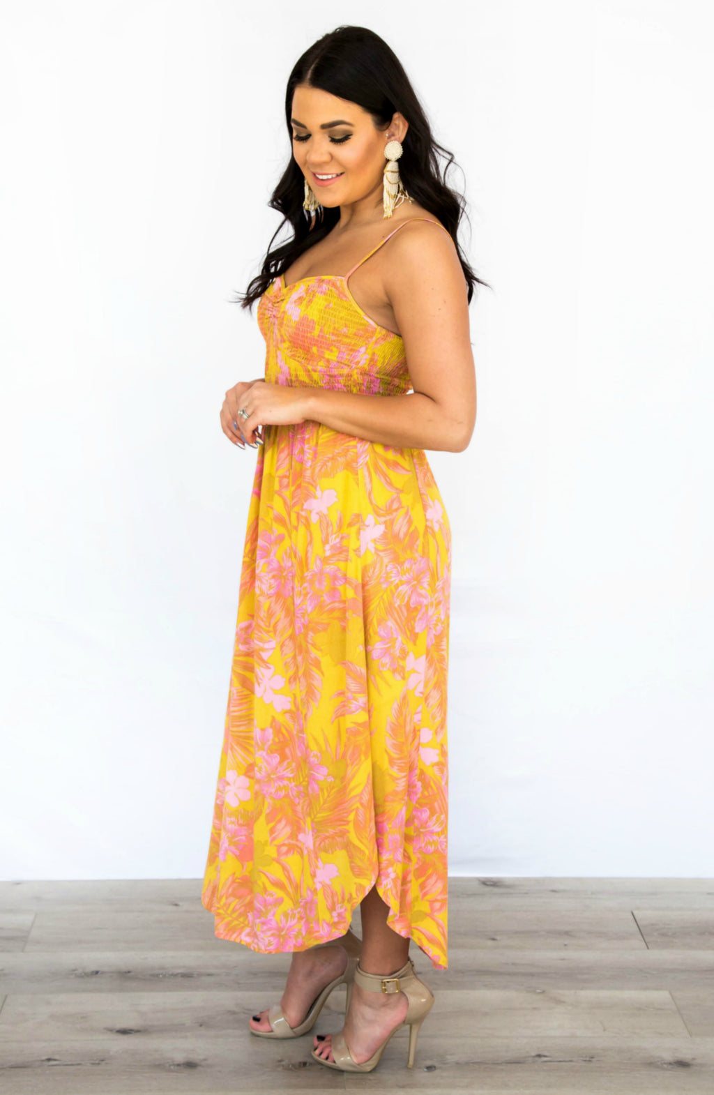 Days of Sunlight Floral Smocked Cami Maxi Dress