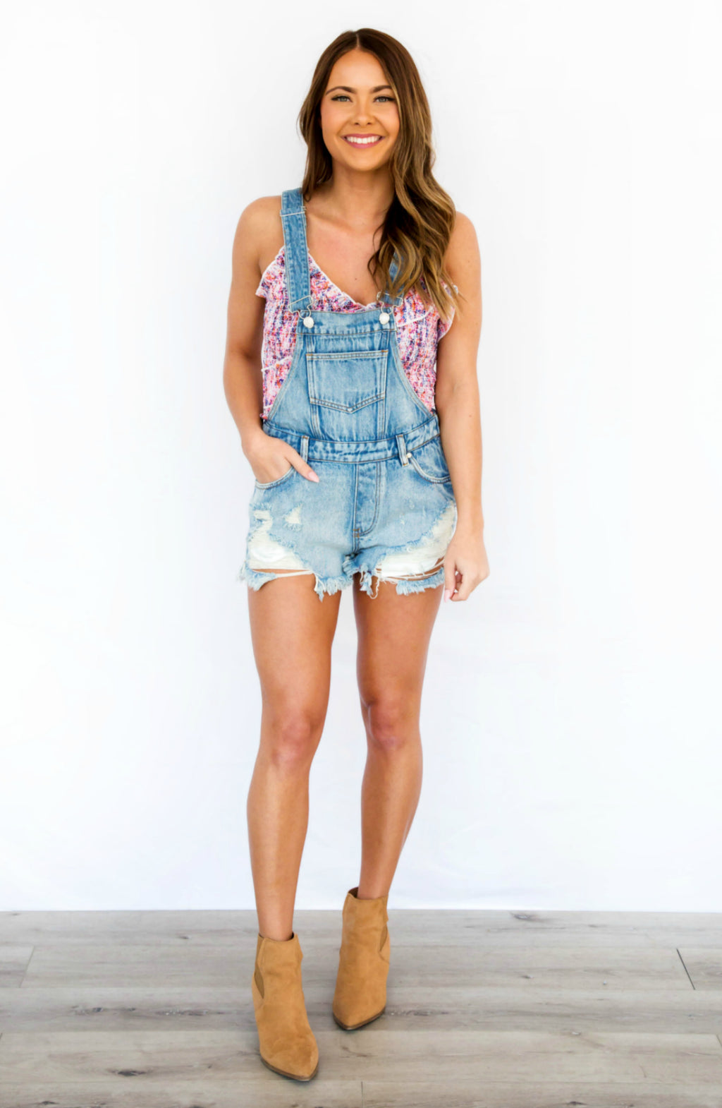 Work For It Distressed Denim Short Overalls- 2 colors