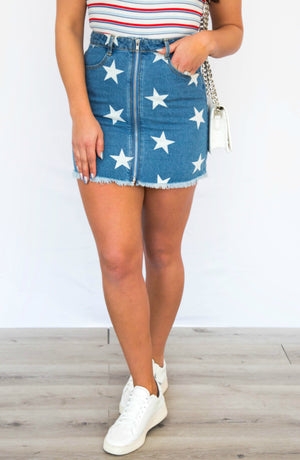 PRE-ORDER: True Star Denim Zipper Front Mini Skirt