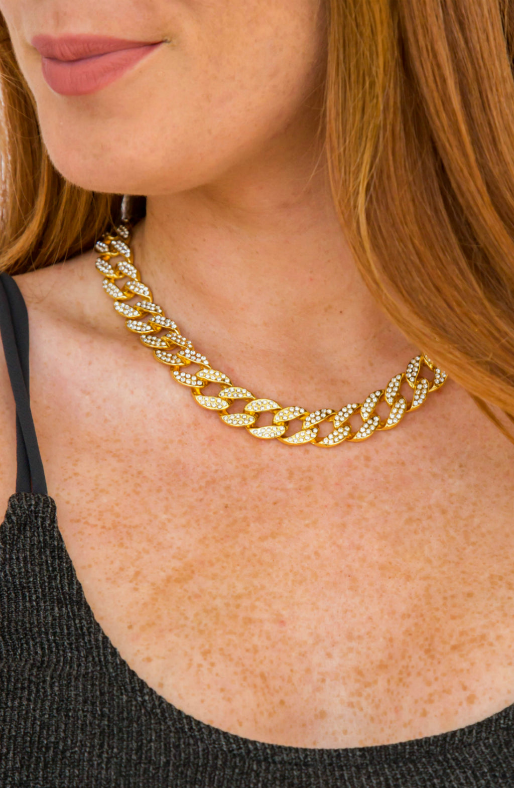 Linked To Me Gold Rhinestone Chain Necklace