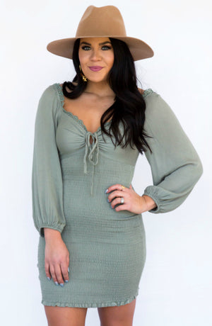 Venice Beach Smocked Long Sleeve Mini Dress- 2 colors