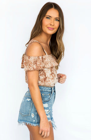 New Woman Brown Sleeveless Off Shoulder Ruffle Top