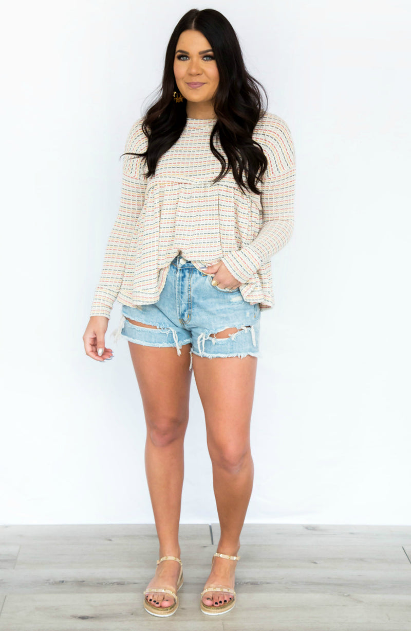 On My Mind Long Sleeve Babydoll Knit Top