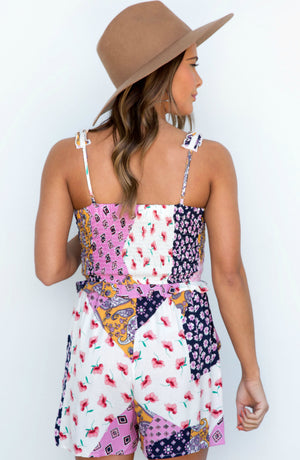 Gimme Butterflies Patchwork Ruffle Strap Smocked Romper