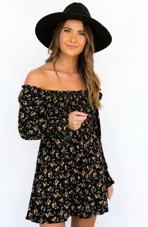 Picking Flowers Smocked Floral Mini Long Sleeve Dress-2 colors