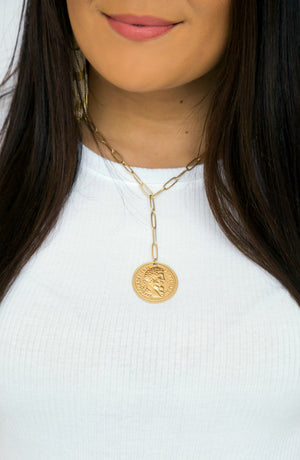 Hold That Thought Coin Chain Gold Necklace