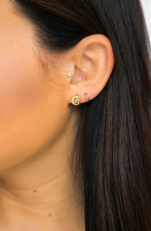 Blissful Moment Moon in Star Cluster Earring