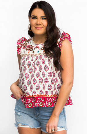 Dream Tonight Printed Embroidered Ruffle Top