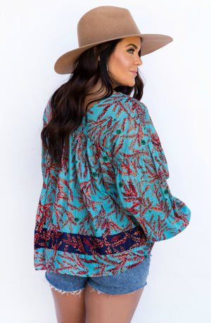 New Boldness Blue Multi Floral Print Blouse
