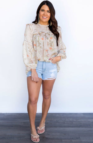 Passionate Days Ruffle Floral Long Sleeve Blouse