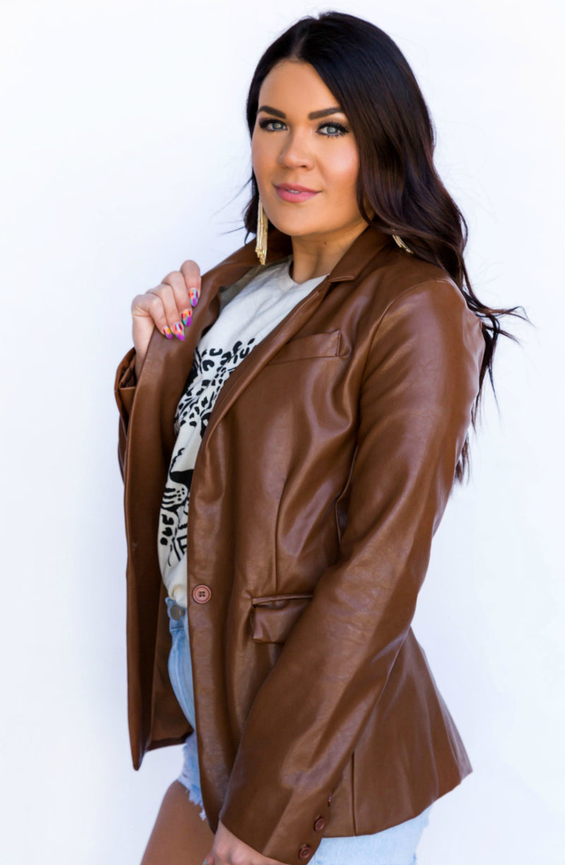 Strictly Business Brown Leather Blazer