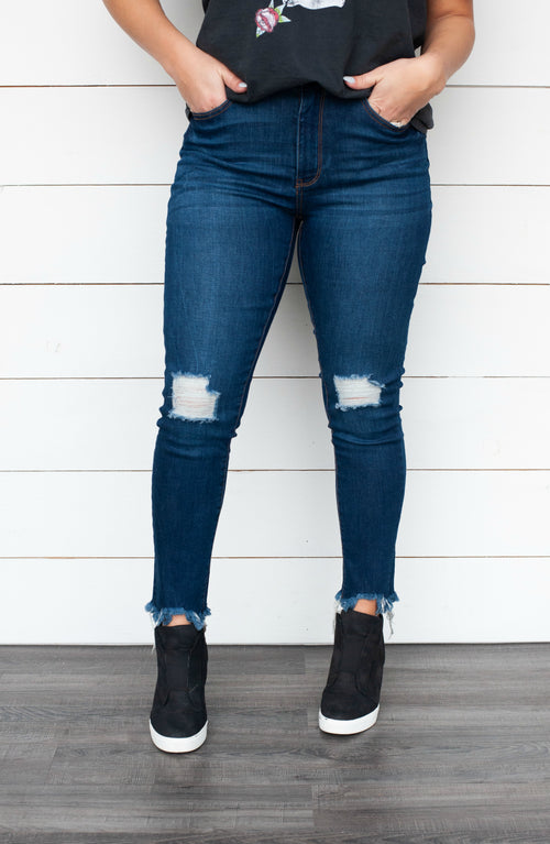 High-Waisted Distressed Mom Fit Jeans