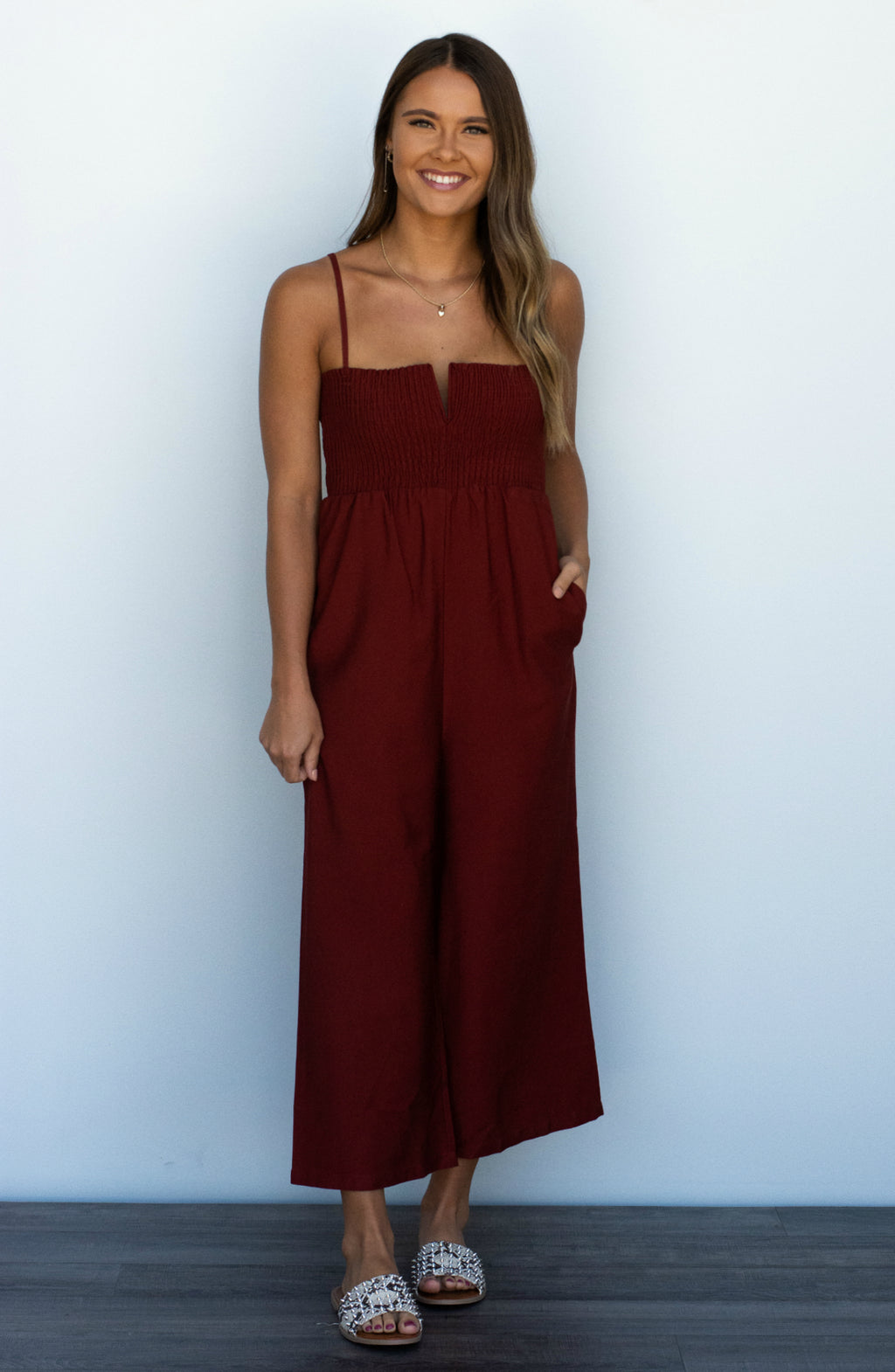 Dance With Somebody Rust Smocked Jumpsuit