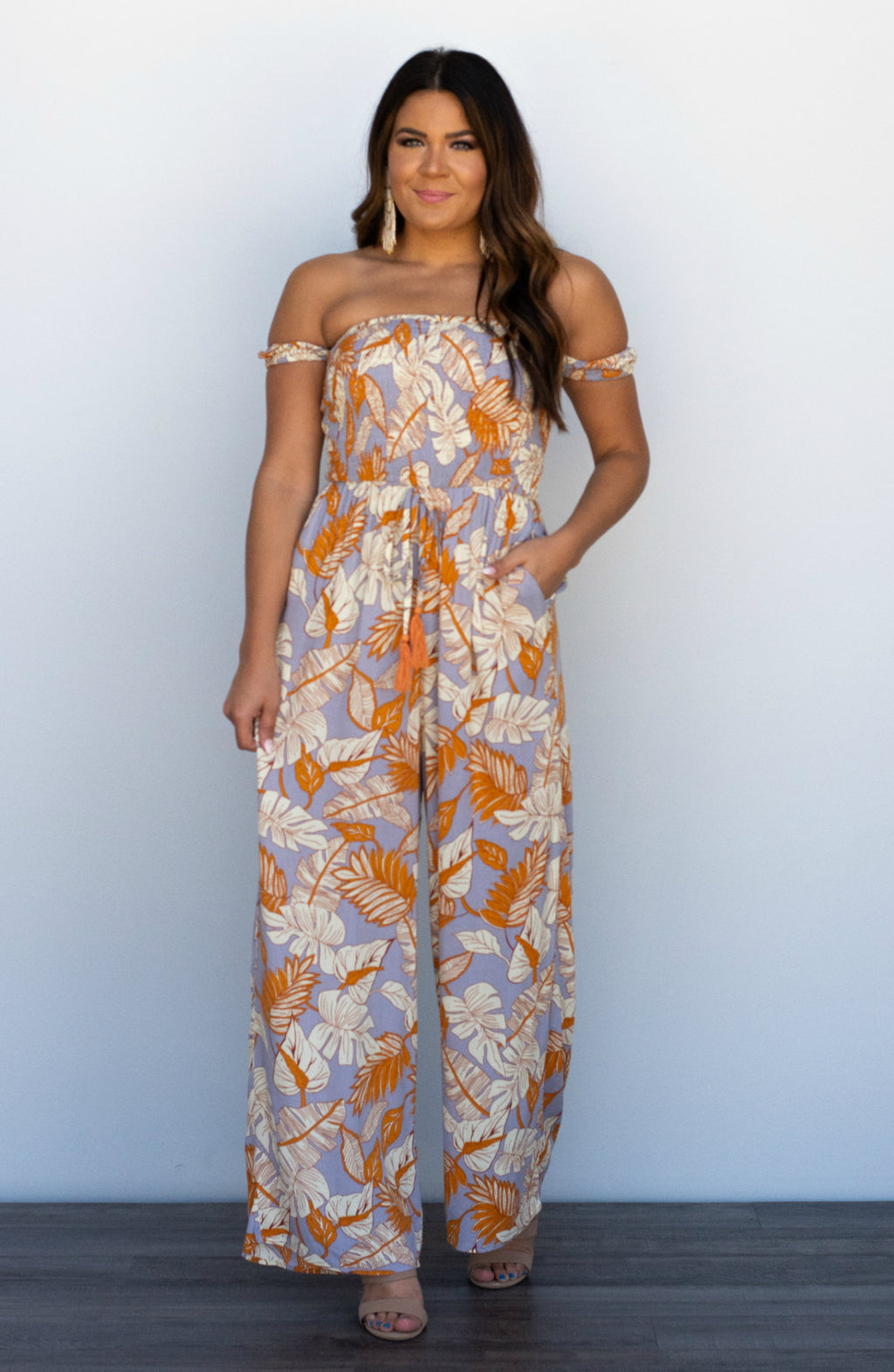 Just Breathe Printed Smocked Off The Shoulder Jumpsuit