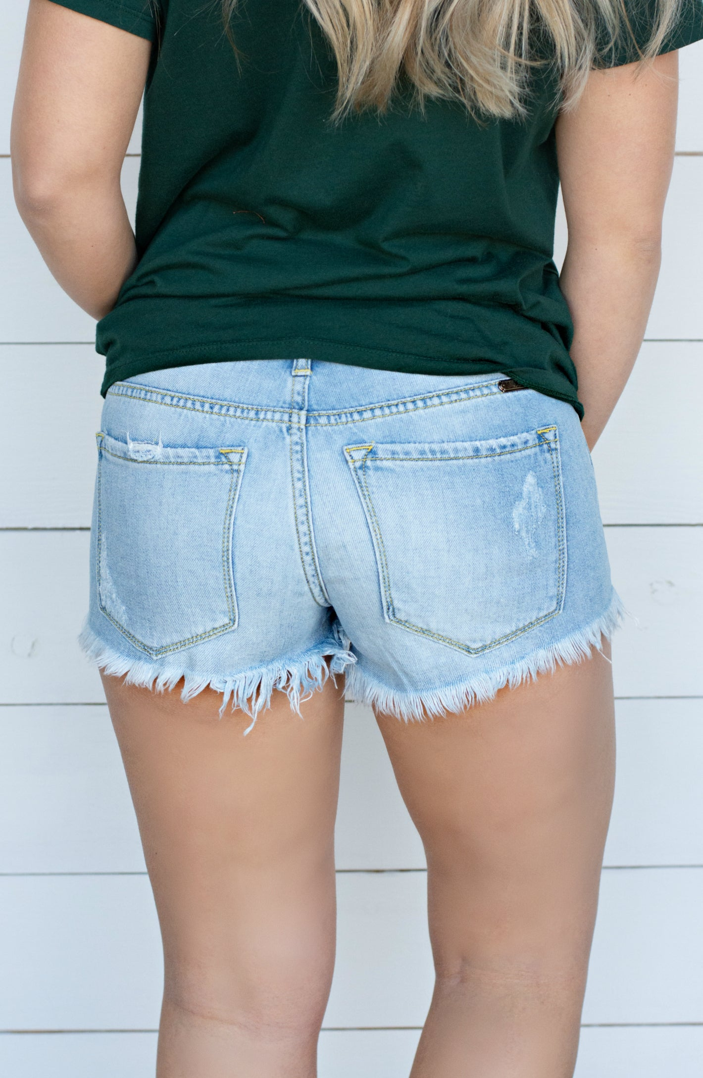 Pin Up Distressed Light Wash Short with Uneven Hem
