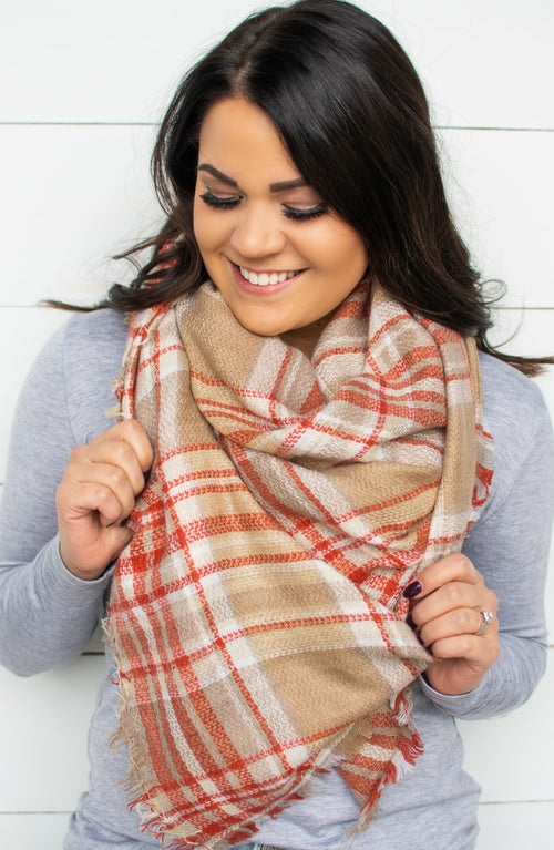 Taupe Knit Blanket Scarf
