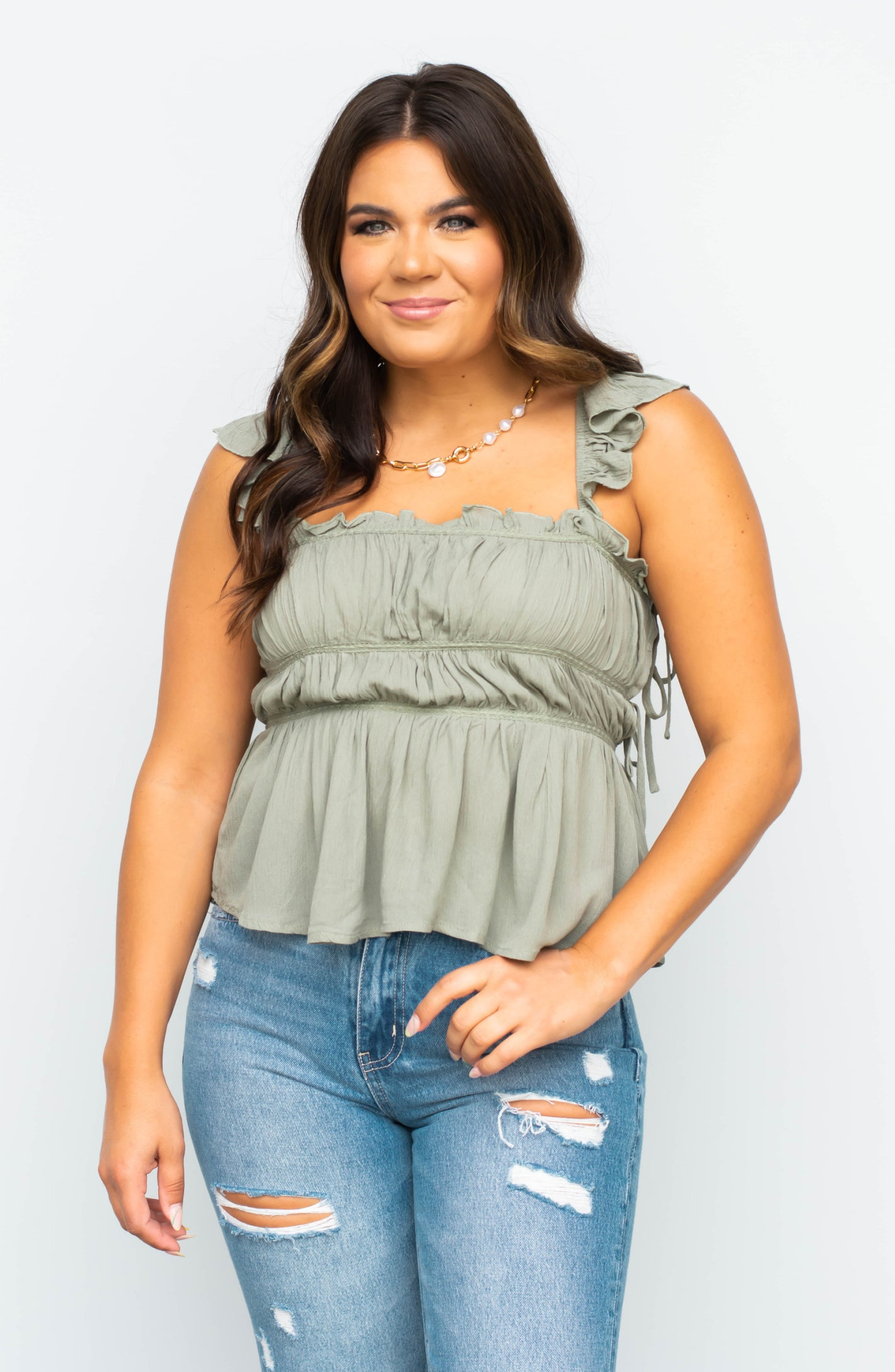 Extended Size: Fool Me Once Long Sleeve Striped Top- 2 Colors
