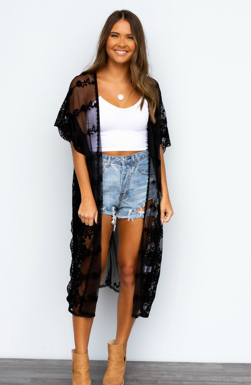 Sheer Me Out Crochet Kimono - 2 Colors