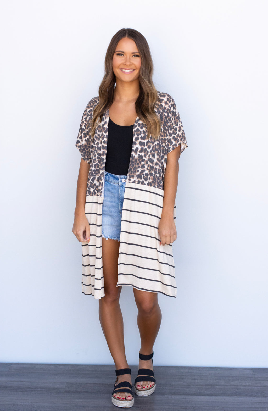 Into It Leopard and Striped Open Front Cardigan