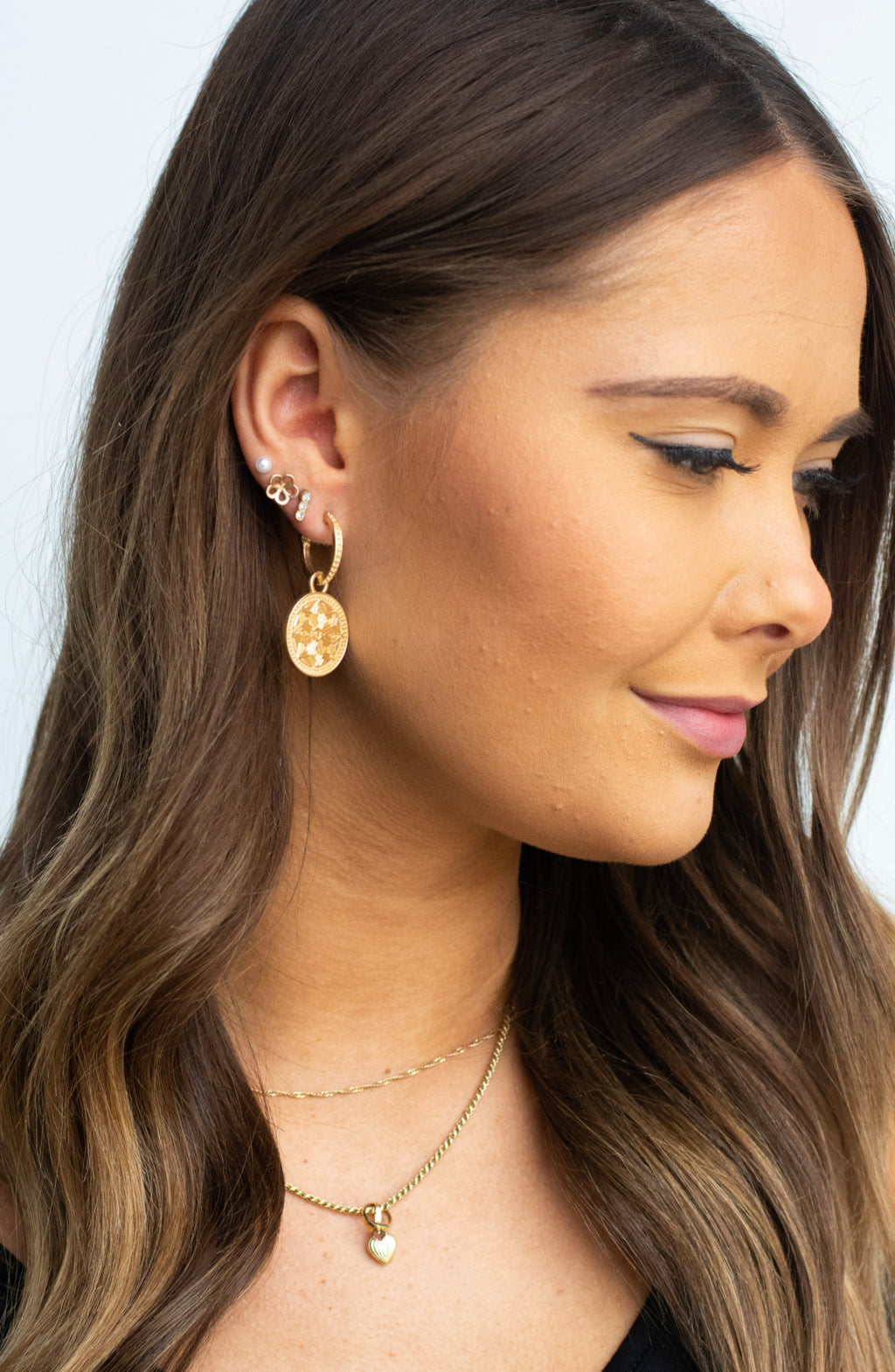Worn Gold Coin Charm Drop Earrings