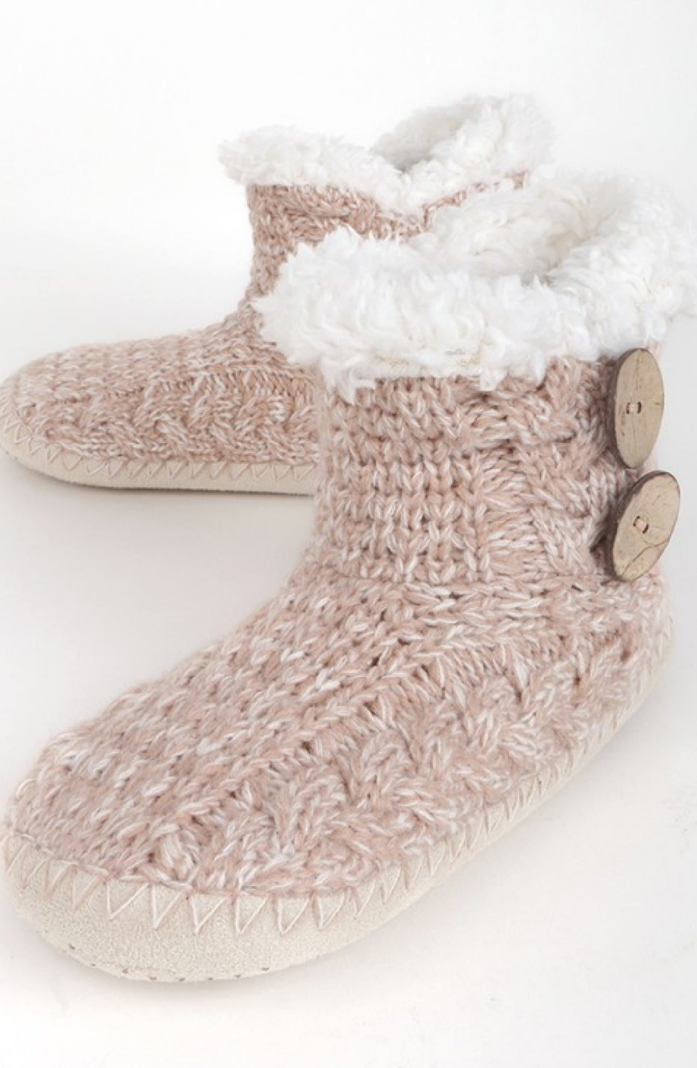 Hand Knitted Boot Slippers - 2 Colors