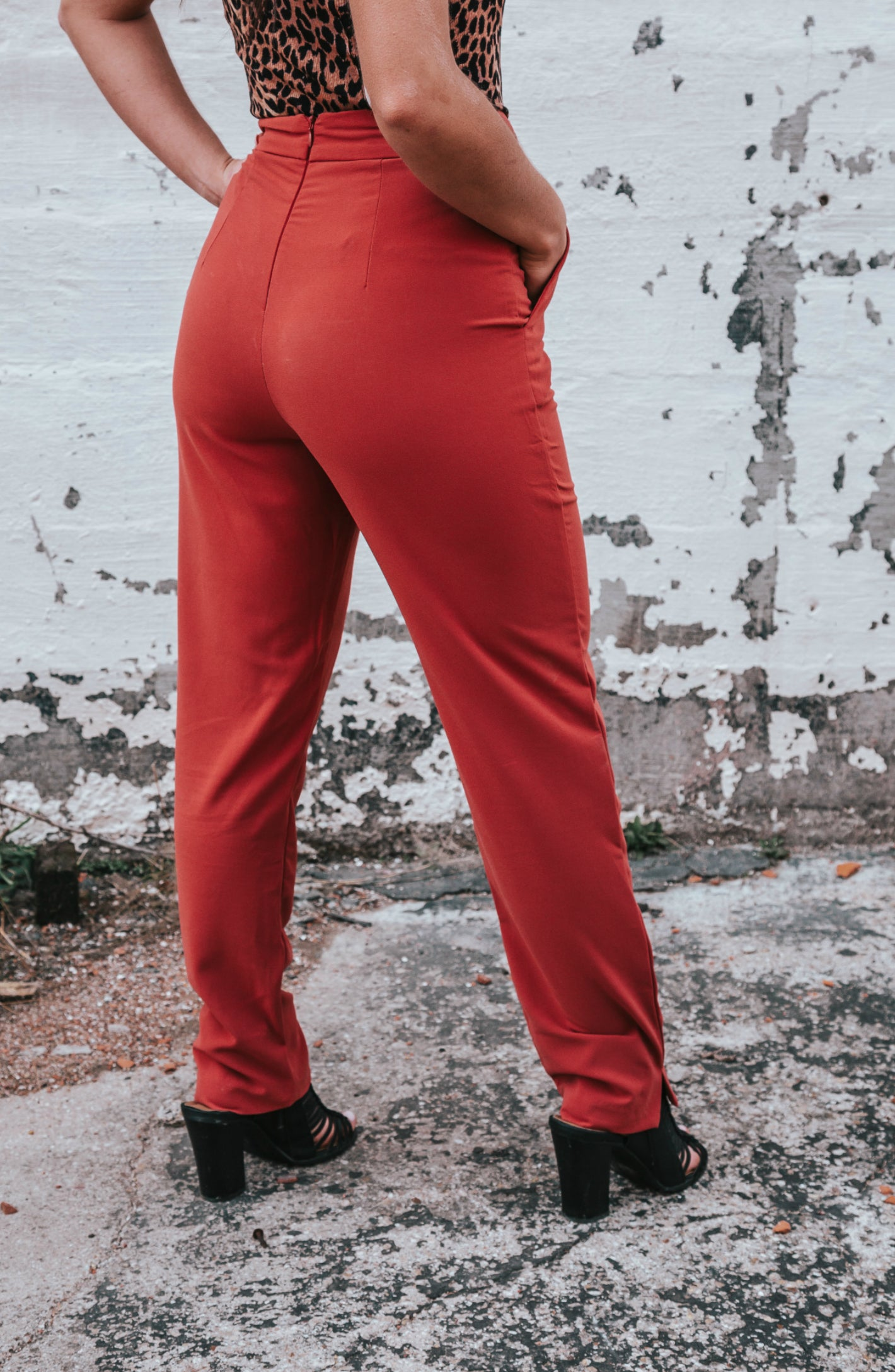 Confident Stride Wide Leg Rust Pants With Belt