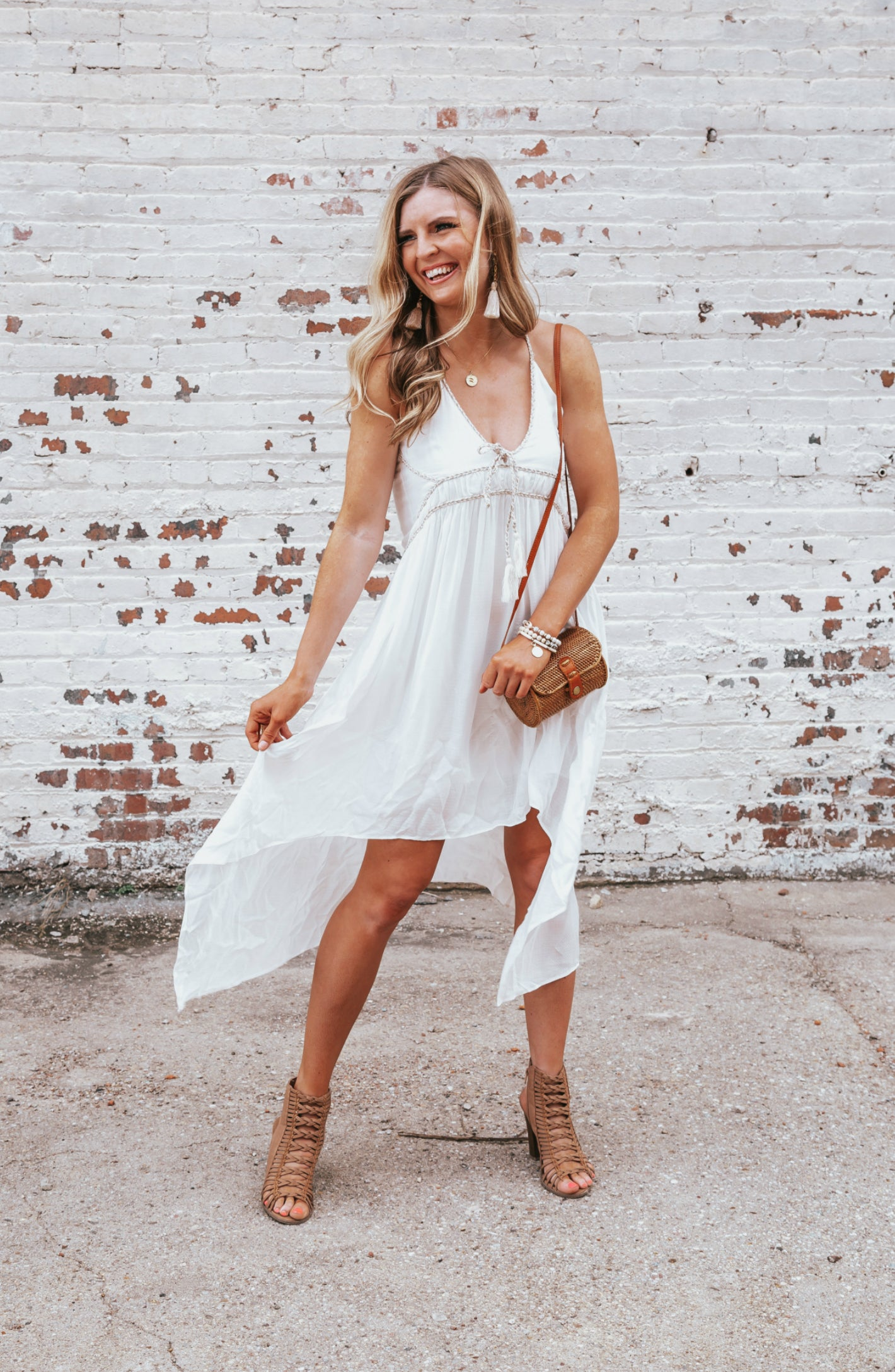 Day In The Sun Rope Trim Ivory Swing Dress