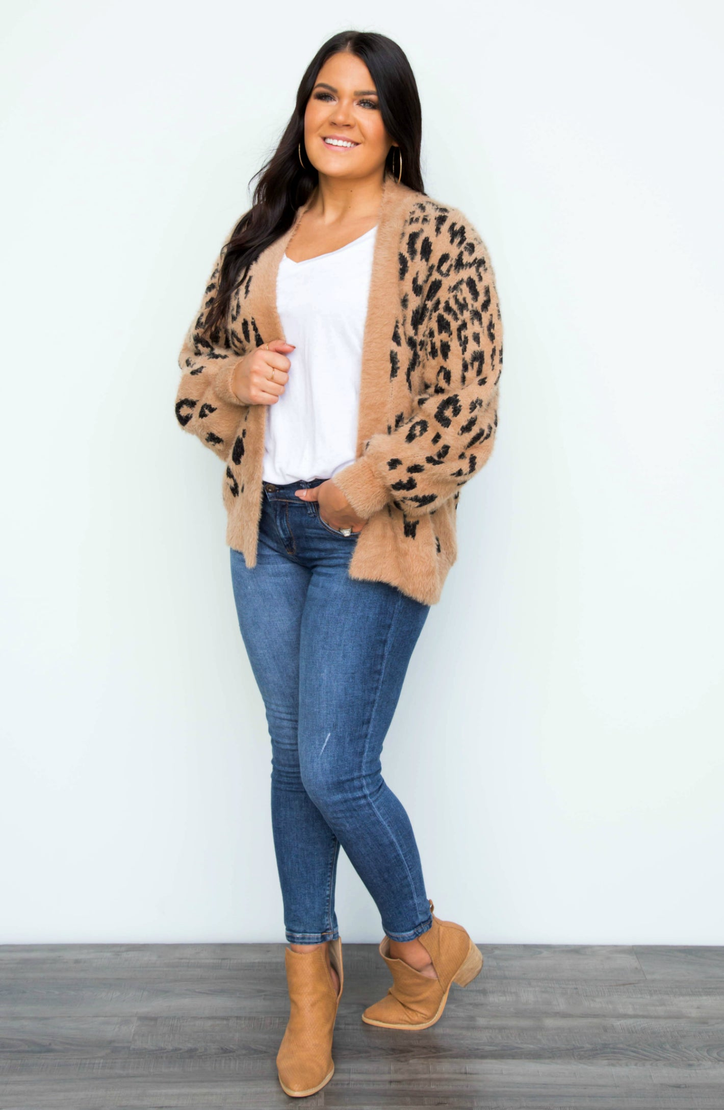 The Cat's Meow Taupe Leopard Fuzzy Open Cardigan